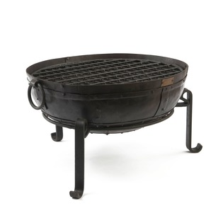 Recycled Fire Pit with grill and low stand